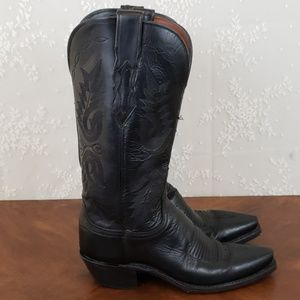 Lucchese Buffalo Skin Black Womens Boots Size 6